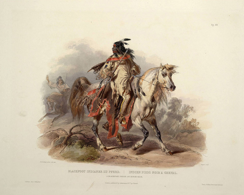 Illustration of a man riding a horse dressed in traditional garments. He is holding a rifle in his right hand. There is another man on horseback in the background.