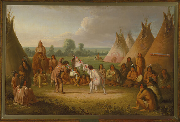 Painting by Paul Kane illustrating the medicine pipe stem dance. Dancers are surrounded by several onlookers who are watching this ceremonial dance taking place in an encampment with many raised tipis.