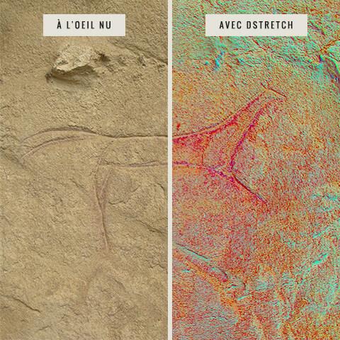 Deux photographies d'un pétroglyphe de cheval : l'une non rehaussée et l'autre rehaussée avec DStretch. La seconde démontre clairement la présence de l'ocre rouge dans les lignes de la gravure.
