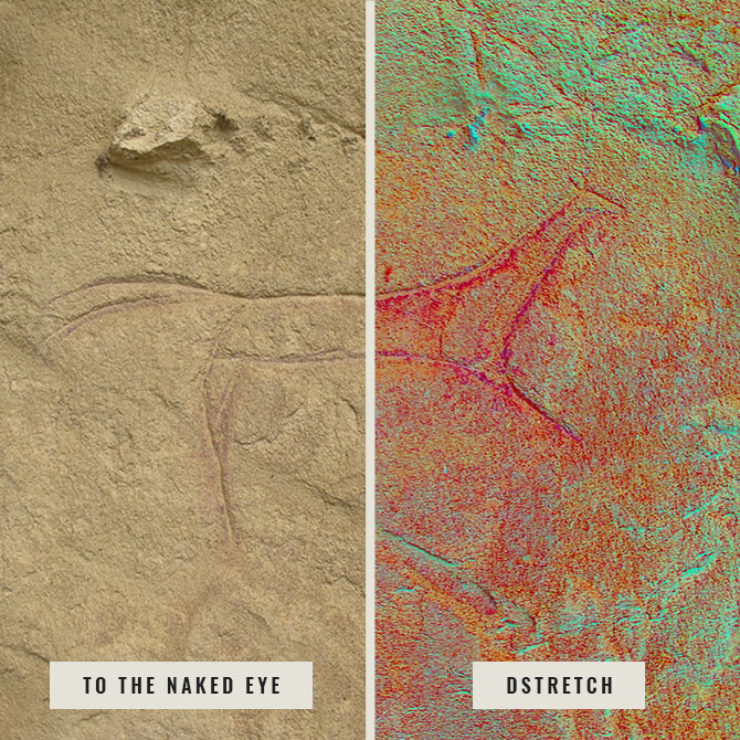 Two pictures of a horse petroglyph: one unenhanced, the other enhanced with DStretch. The second petroglyph clearly shows the presence of red ochre in the carved lines.