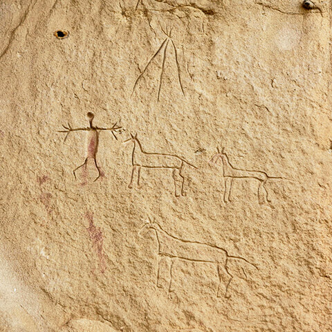 Picture of a petroglyph showing three horses, a human figure and a tipi