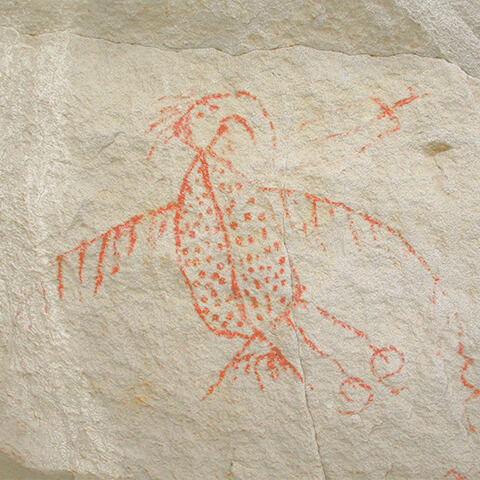 Picture of a rock painting featuring a Thunderbird with a large beak, whose body is marked with dots. Zigzag lines are emerging from a wing.
