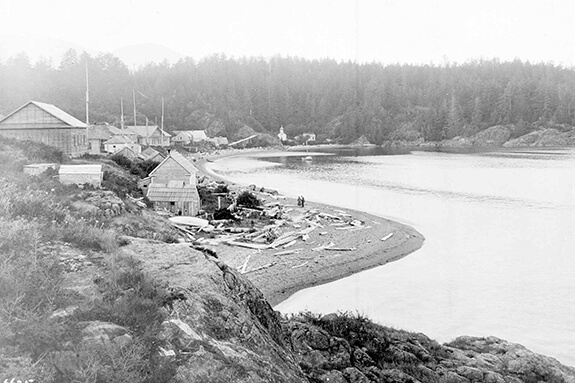 Old picture of the Nuu-chah-nulth (Nootka) village of Nootka Sound