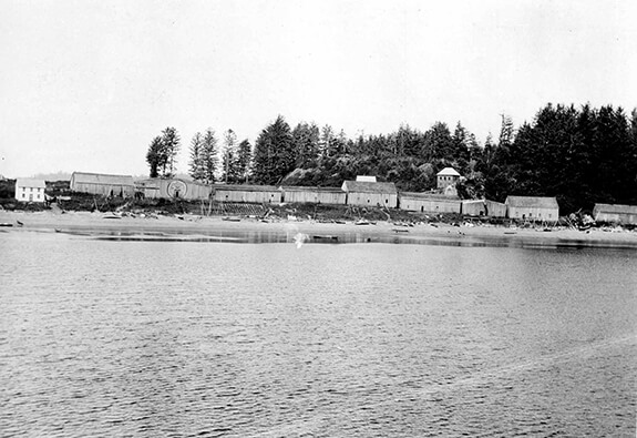 Old picture of the Nuu-chah-nulth (Nootka) village at Friendly Cove, British Columbia
