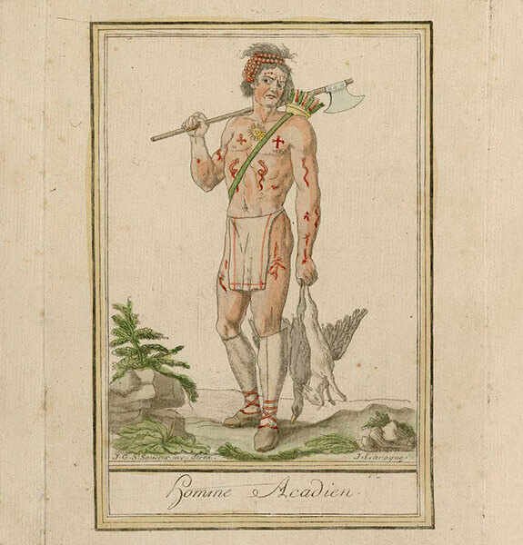 Illustration of a Mi'gmaq man in the 18th century. Nearly naked, he is holding a European ax in the right hand and the spoils of his hunt in the left hand. Several parts of his body are covered with painted or tattooed patterns: snakes, but mainly crosses.