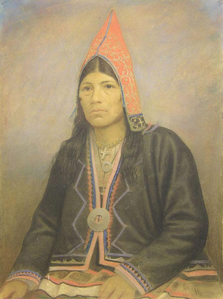 Picture of an artwork showing Marie-Christiane Paul (Mali Kristia'n Po'l), a Mi'gmaq woman