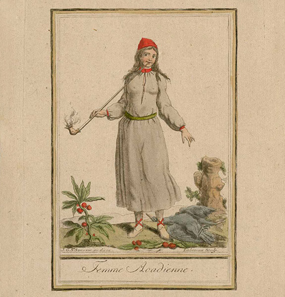 Illustration of a Mi'kmaq woman in the 18th century smoking a long stem pipe. She is wearing clothes made with European fabrics.