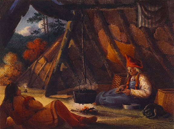 Illustration representing a Mi'kmaq man and woman inside a wigwam