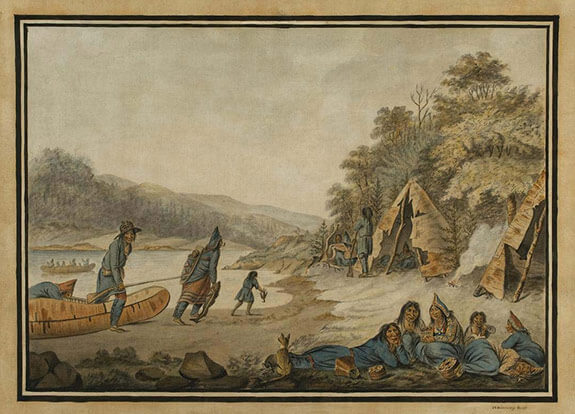 Watercolour showing a Mi'kmaq encampment and traditional activities