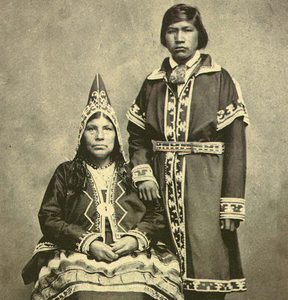 Picture of a woman and a young man from the Mi'gmaq Nation