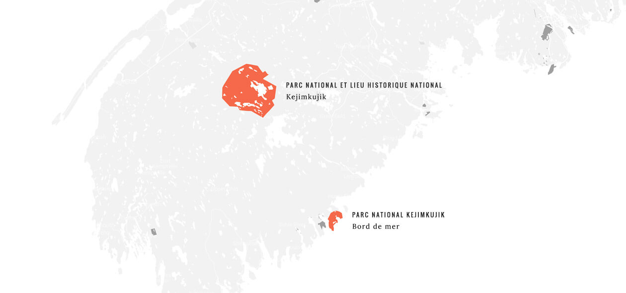 Map of Nova Scotia showing the location of the Kejimkujik National Park and National Historic Site