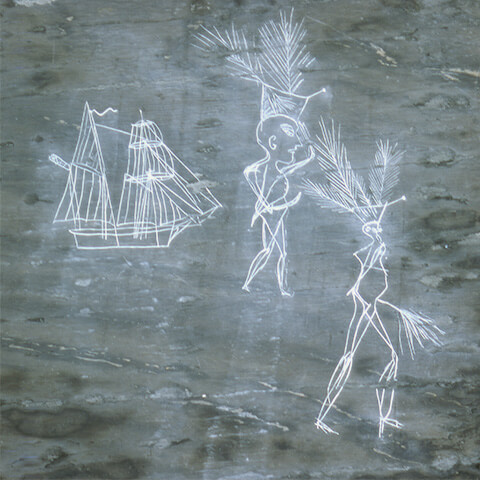 Picture of a sailing vessel and two figures believed to be Mi'kmaq. One of them is wearing European military clothing and is armed with a sabre.