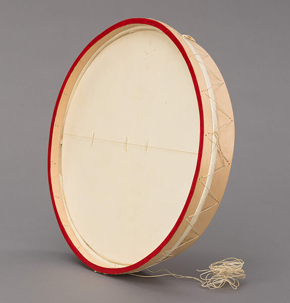 "Picture of a teueikan, the Innu's traditional drum. Hunters use this particular ritual object to contact the ""Master of Animals."""