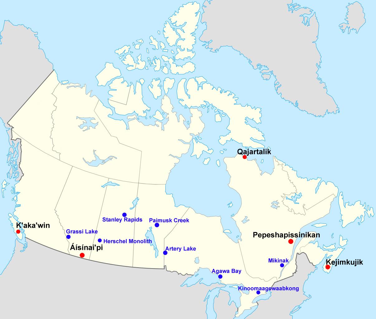 Carte du Canada où sont localisés certains sites rupestres