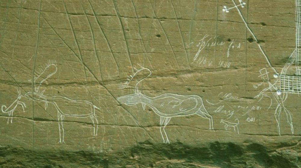 McGowan Lake, Nouvelle-Écosse. Gravure d'une scène de chasse où un homme Mi'gmaq, fumant une pipe et portant un chapeau, envoie deux chiens chasser des orignaux.