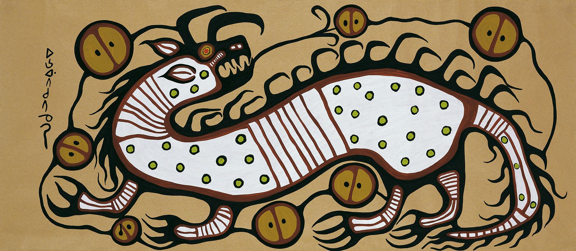 Œuvre de Norval Morrisseau, peintre anishinabe, intitulée « Esprit de l'eau » ou Water Spirit. L'artiste y représente un Mishipeshu.