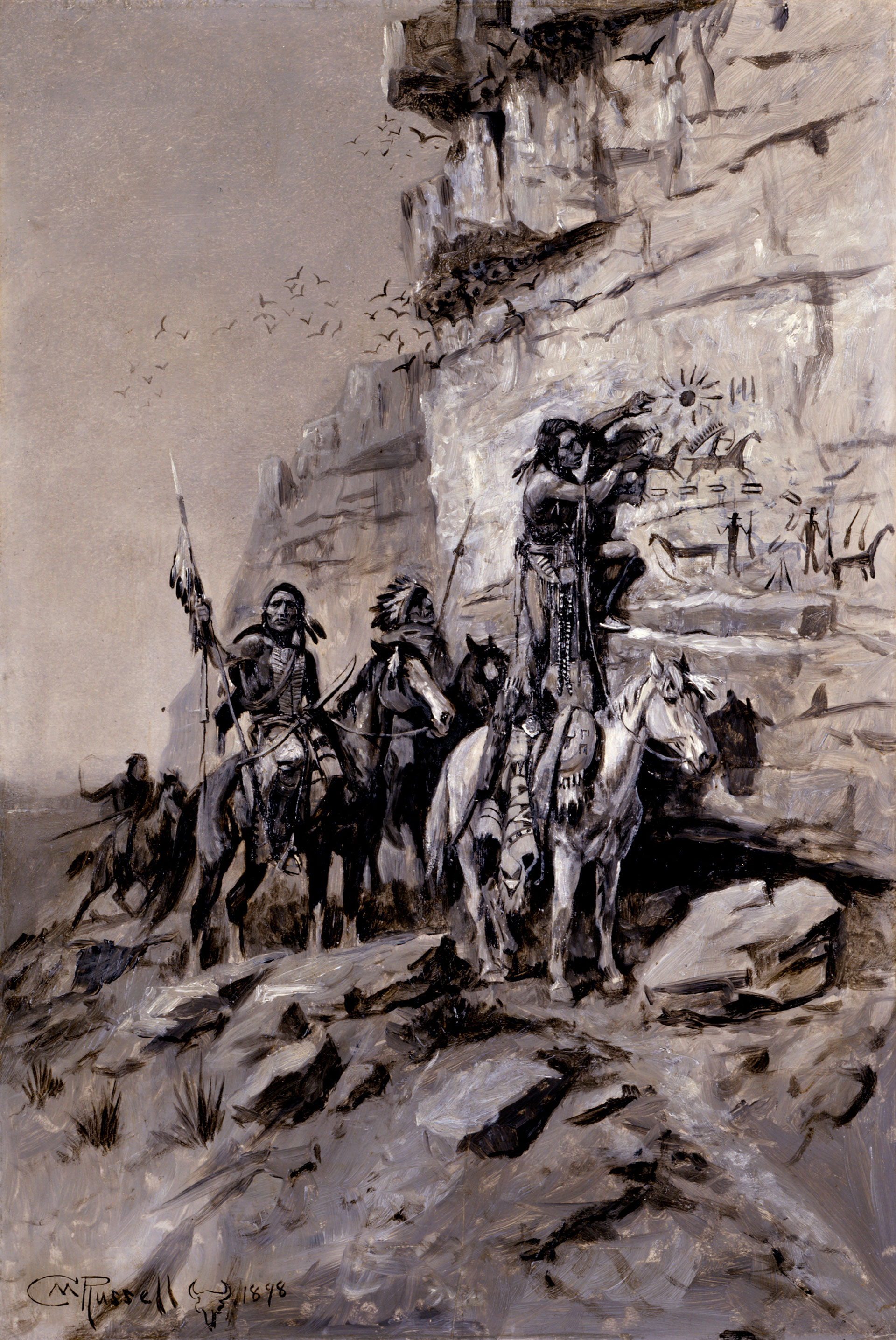 Artwork by Charles Marion Russel representing a group of men on horseback near a cliff, in Alberta, Canada. One of them is painting on the rock.